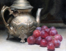 Still life with grapes, pear and metal tea pot
